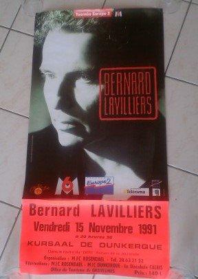 AFFICHE DE BERNARD LAVILLIERS 1991 AU KURSAAL DE DUNKERQUE (mjc)
