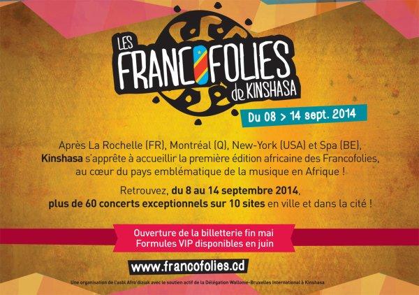 Les Francofolies de Kinshasa se dérouleront du 8 au 14 septembre (congo) bernard lavilliers y est prévu.
