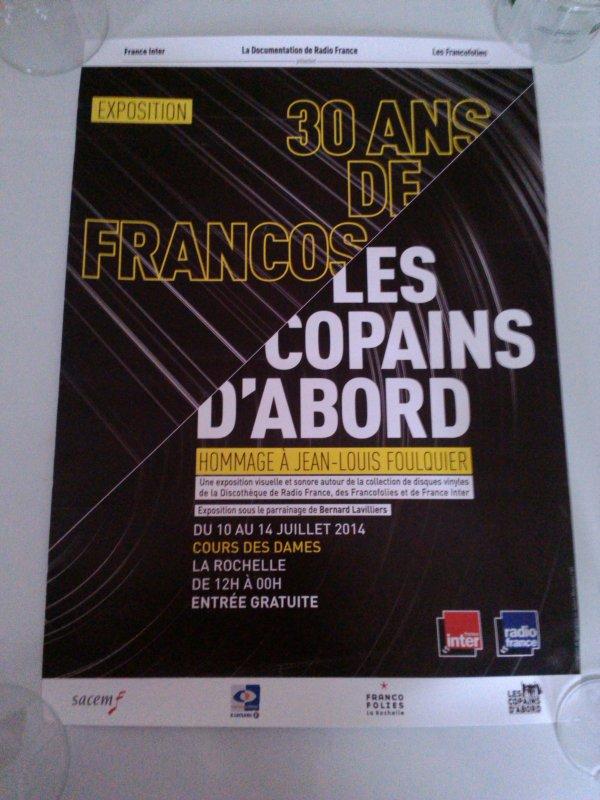 """affiche des 30 ans des francofolies""""les copains d'abord""""hommage a jean louis foulquier"""