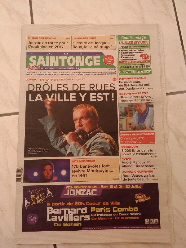 bernard lavilliers en premiere page du journal de jonzac
