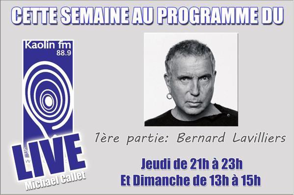 """bernard lavilliers ce soir jeudi 13 novembre,sur la radio """"kaolin fm""""88.9"""