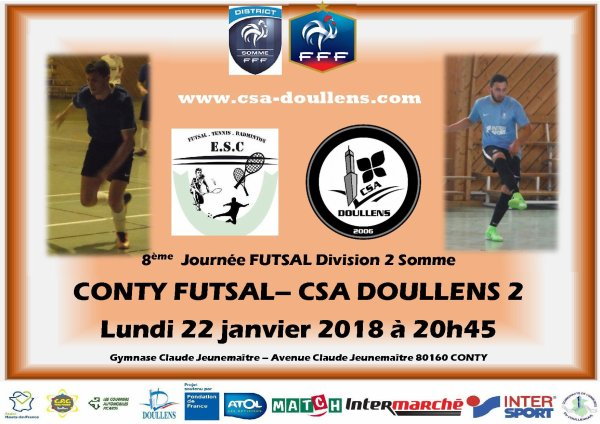 8eme journée de Championnat Division 2 Somme futsal: Conty - Csa Doullens B  22/01/18