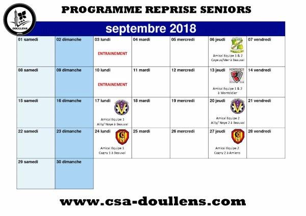 Programme de Reprise Séniors Futsal (Septembre 2018)
