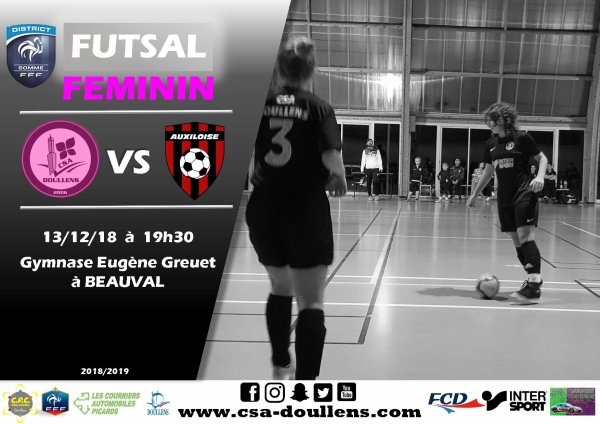 Match amical Futsal Féminin: CSA Doullens - Auxiloise 13/12/18