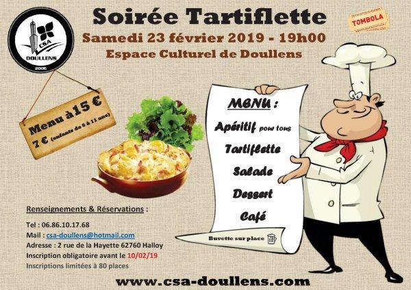 Repas Tartiflette du CSA Doullens Samedi 23 février 2019