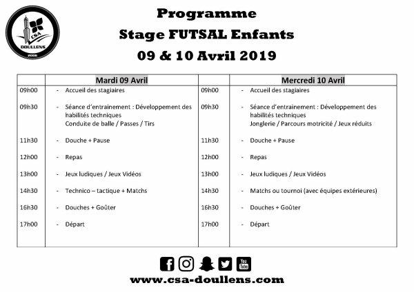 Programme Stage Futsal Enfants 09 et 10 avril 2019