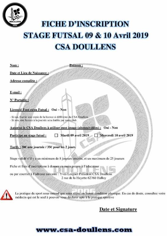 Fiche d'inscription Stage Futsal Enfants 09 et 10 avril 2019