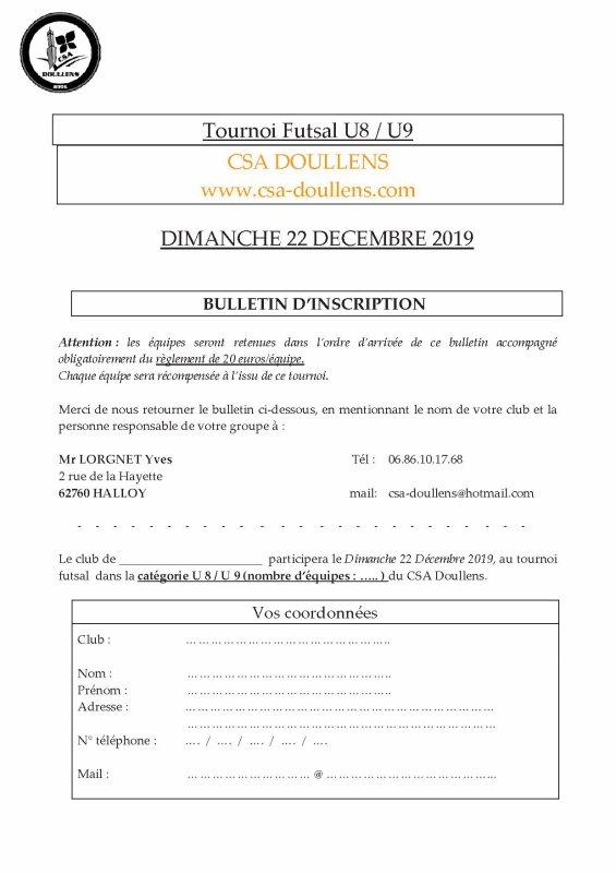 Tournoi Futsal u8u9 du CSA Doullens 22/12/19: Bulletin d'inscription