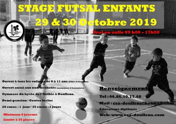 Stage Futsal Enfants 29 et 30 Octobre 2019