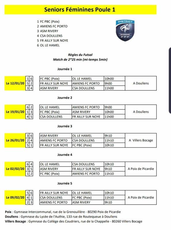 Calendrier Championnat Futsal Féminin 2019/2020 Poule 1