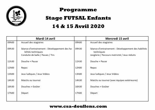 Stage Futsal Enfants 14 et 15 avril 2020