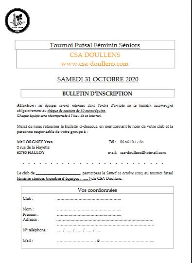 Bulletin d'inscription tournoi futsal FEMININ CSA Doullens 31/10/20
