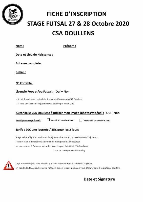Fiche d'inscription Stage Futsal Enfants 27 & 28 Octobre 2020