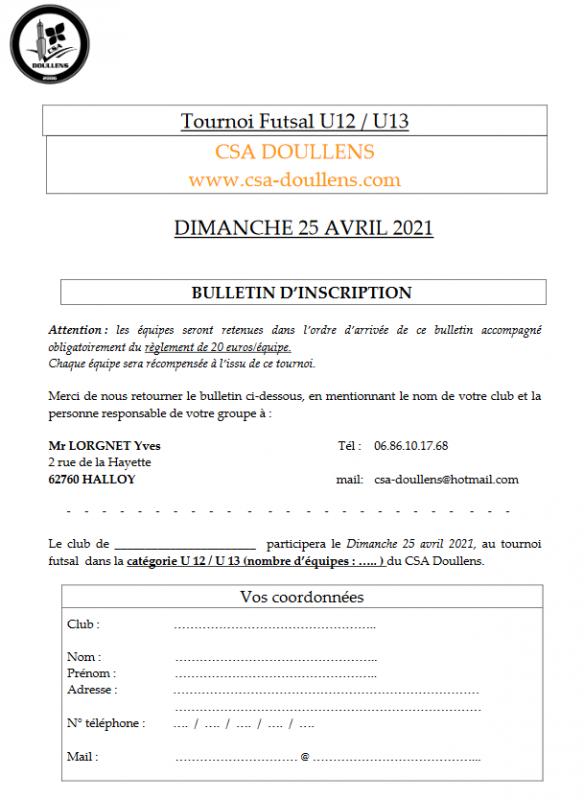 Bulletin d'inscription Tournoi Futsal U12-U13  25/04/21
