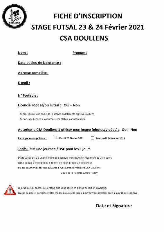 Bulletin d'inscription Stage Futsal Enfants 23 & 24 février 2021