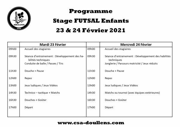 Programme Stage Futsal Enfants 23 & 24 février 2021