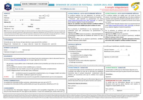 Demande de Licence FFF 2021/2022