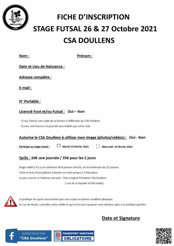 Fiche d'inscription Stage Futsal u10 à u13  26 & 27 Octobre 2021