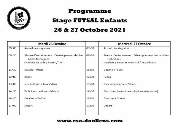 Programme Stage Futsal u10 à u13  26 & 27 Octobre 2021