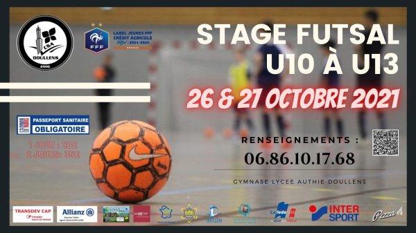 Stage Futsal u10 à u13  26 & 27 Octobre 2021