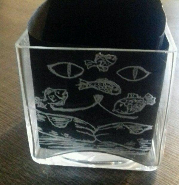 Gravure sur verre quatres face