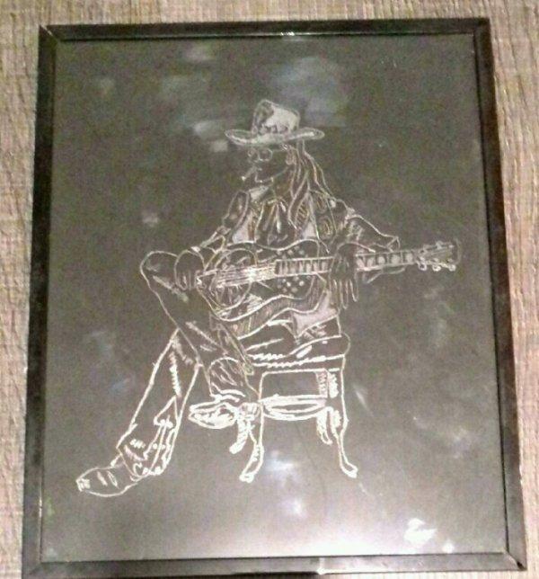 Gravure sur verre musicien