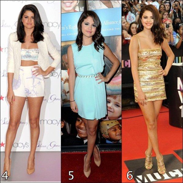 Pour le début d'année 2013 je vous fait re(découvrir) les tenues portée par Selena Gomez lors d'évenements en 2012.             (PARTIE 1)