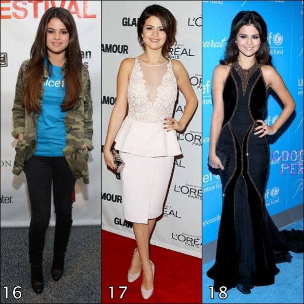 Pour le début d'année 2013, je vous fait (re)découvrir les tenues portées par Selena Gomez lors d'évenements en 2012.                 (PARTIE 2)
