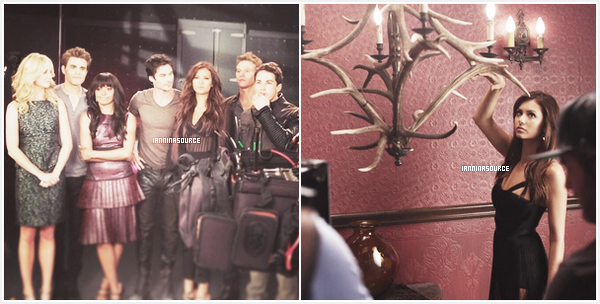 . Découvrez les photos BTS du shoot promotionnel de la saison 05 de The Vampire Diaries. .