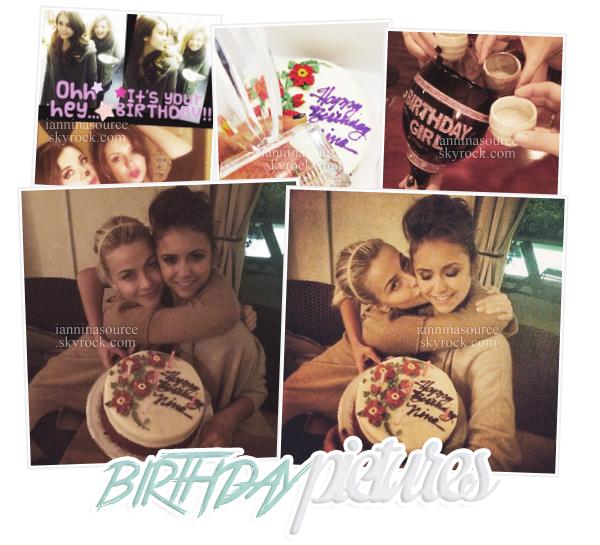 . Voici les photos personnelles de l'anniversaire de Nina! VoiciNina en compagnie de son ex-boyfriend Ian Somerhalder etde sa meilleure amie Julianne Hough. Miss Nina Dobrev fêtait ses 25 ans ce 09 janvier 2014! .