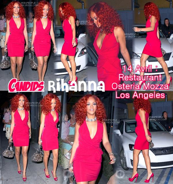 ______________________________________________  16/o4/11 : Candids :  Rihanna au restaurant à LA le 14 avril.   ______________________________________________ Rihanna a été aperçue à son arrivée devant un restaurant de Los Angeles. Elle est arrivée dans une robe rouge s'accordant avec sa couleur de cheveux et une superbe voiture de sport blanche.
