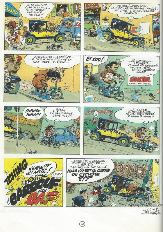Humour et Vélo avec Gaston Lagaffe 3. L'accident