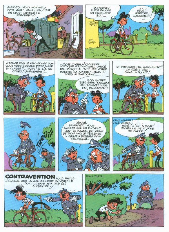 Le vélo dans Modeste et Pompon, par André Franquin (2/2)