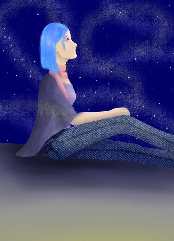 Fille aux cheveux bleus