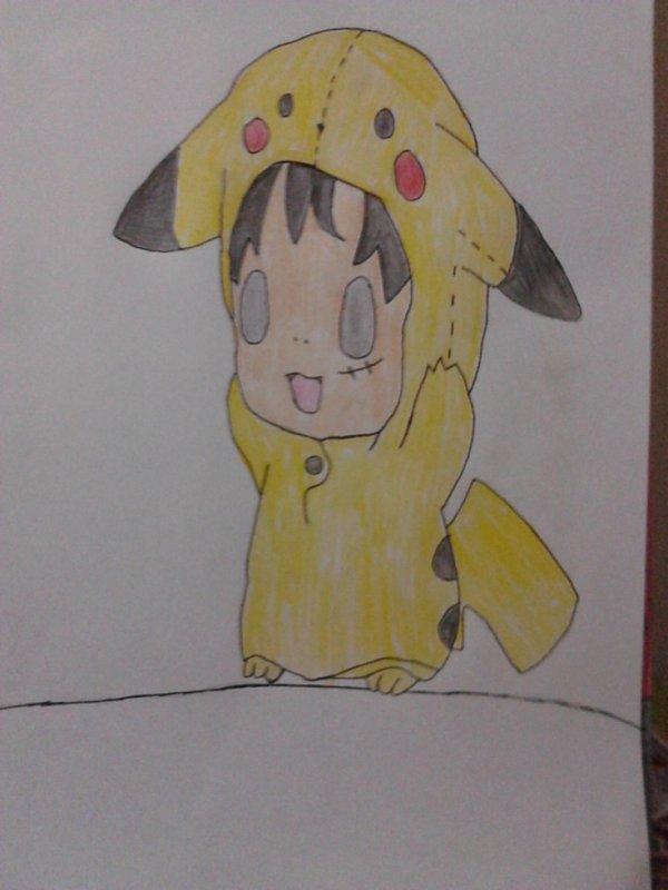 Petit dessin de luffy dans le costume de pikachu