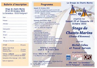 Un Stage de Chants Marins le 23 et 24 Octobre à Pontgivart
