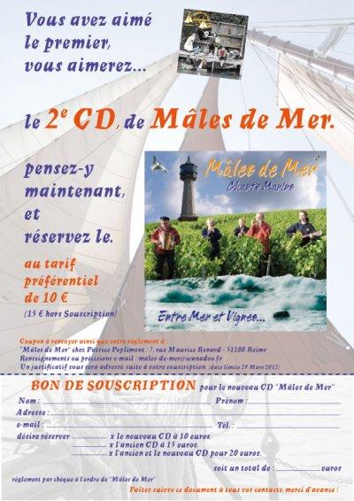 Bon de Soucription - Nouveau CD Mâles de Mer - Mars 2012
