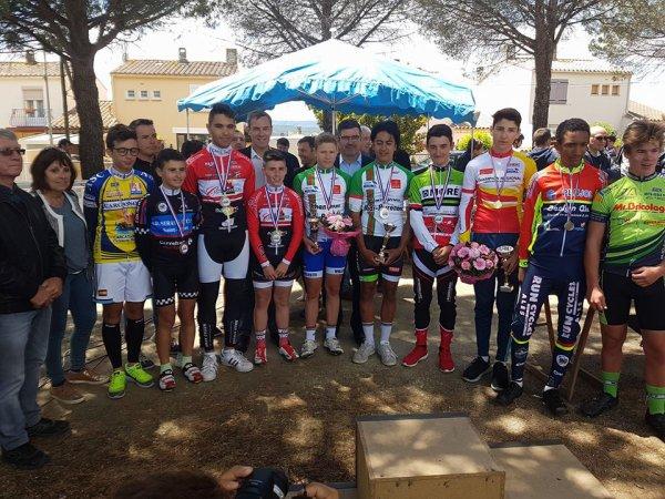 Trèbes(11).Championnat Midi-Pyrénées de l'Avenir Minimes 35 km.Championnat Régional du Languedoc-Roussillon et de Midi-Pyrénées Minimes.Lundi 5 juin 2017
