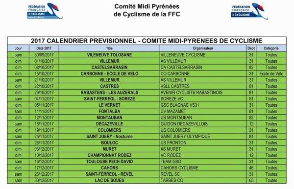 Calendrier prévisionnel de cyclo-cross 2017/2018. Comité Midi-Pyrénées FFC