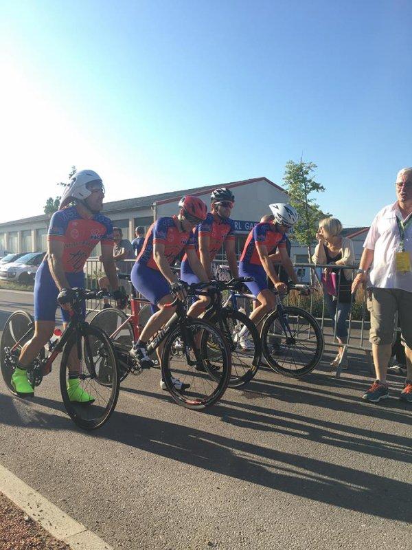 Saint Gengoux(71).Championnat National Route FSGT Contre La Montre par Equipe.Samedi 7 juillet 2018