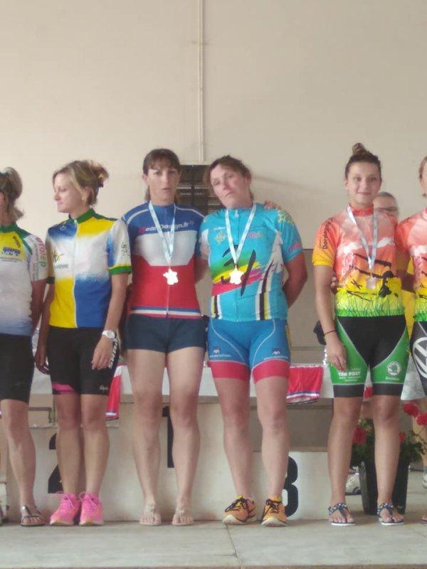 Boulogne sur Gesse(31).Championnat National Route Cyclosport UFOLEP. Féminines 17/29 ans, 30/39 ans, 40 ans et plus.Dimanche 15 juillet 2018