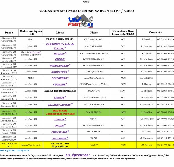 Cyclo Cross Calendrier.Calendrier Cyclo Cross Fsgt Saison 2019 2020 Blog De
