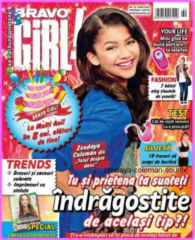"Zendaya et en couverture du magazine ""Bravo Girl !"""