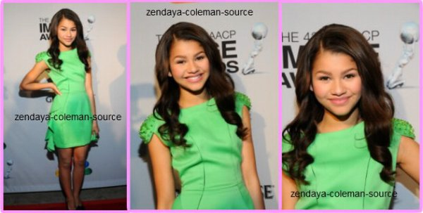 Le 16 février 2012 , Zendaya était présente au 43rd Annual NAACP Image Awards Nominee Pre-Show Gala Reception . Je ne peux pas vraiment donner d'avis sur la tenu car peux de photos son apparues , je ne voit pas vraiment la robe et les chaussures (mais des que plus de photos seront apparues ce sera sur le blog =D).