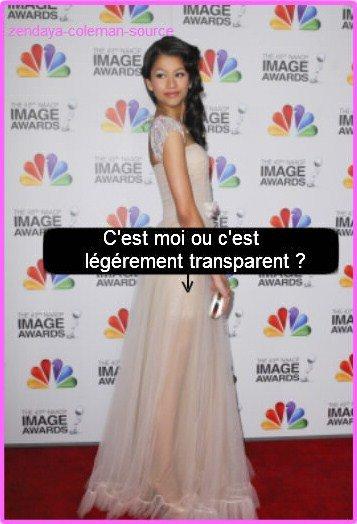 Le 17 Février 2012 Zendaya était présente au 43rd NAACP Image Awards . Pour moi c'est un énorme TOP Zendaya était S-U-B-L-I-M-E dans sa magnifique robe , sa coiffure et son maquillage était parfait par contre je ne voit pas ses chaussures mais sa reste un énorme TOP . Et pour vous TOP ou FLOP ?