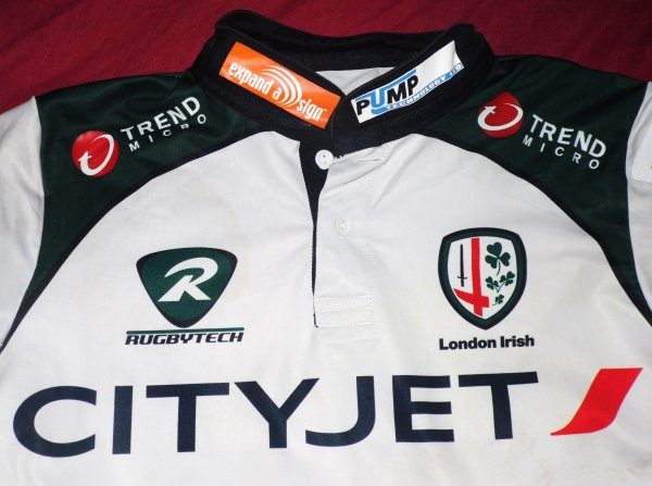 Maillot de match des London Irish N°13 porté par Elvis Sevealii saison 2010/2011