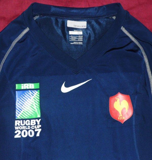 Maillot d'entrainement du XV De France porté par Pieter De Villiers lors de la Coupe Du Monde 2007