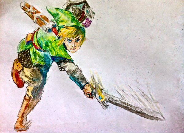 Zelda-Skyward Sword-Pastels à l'huile