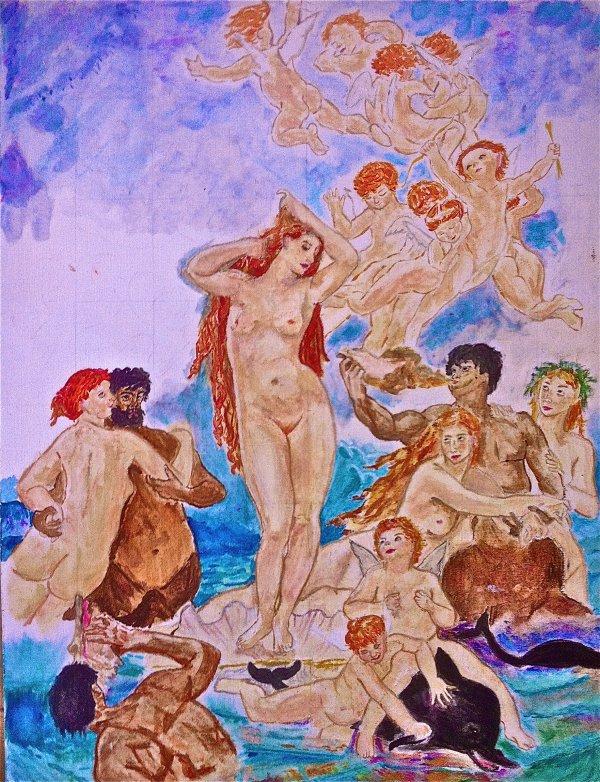 La Naissance de Vénus (de William Bouguereau) - Version aux pastels à l'huile et peinture à l'huile ( en construction )