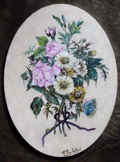 bouquet sur toile ovale